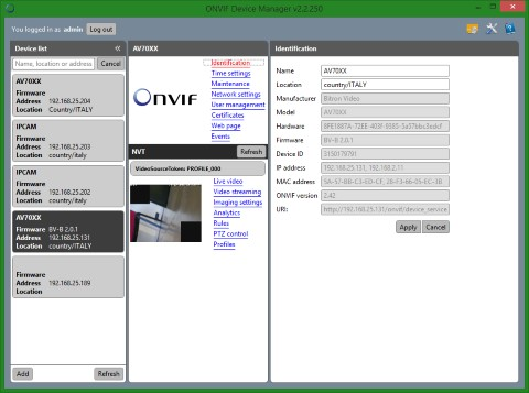 ONVIF Device Manager